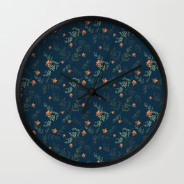 The floral style pattern on a blue background . Wall Clock