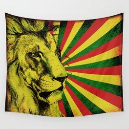Rasta Lion / Rastafarian Red Gold Green Lion Wall Tapestry