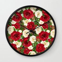Christmas roses garden Wall Clock