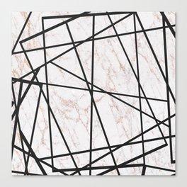 Geometrical black gold faux glitter white marble Canvas Print