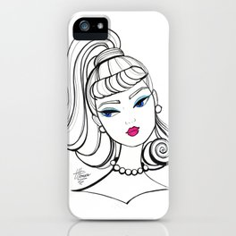 Vintage Fashion Doll Sketch iPhone Case