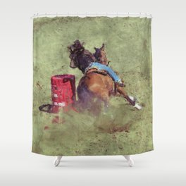 The Barrel Racer - Rodeo Horse and Rider Shower Curtain