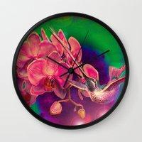 hummingbird Wall Clocks featuring Hummingbird by Joe Ganech