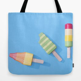 Three Ice Lollies on Blue Tote Bag