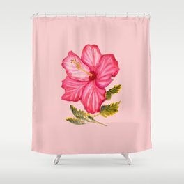 Pink hibiscus watercolor Shower Curtain