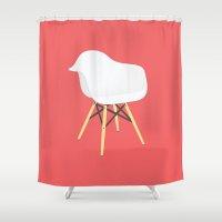 eames Shower Curtains featuring Eames Chair by Simon Li