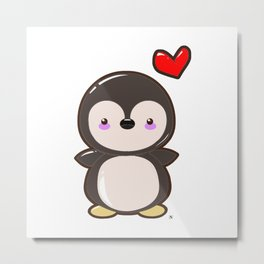 Penguin Kawaii Metal Print