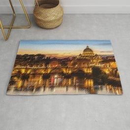 Twilight in Rome, Italy Landscape by Jeanpaul Ferro Rug