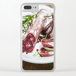 Italian salami on white background Clear iPhone Case