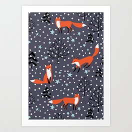 Red foxes in the nignt winter forest Art Print