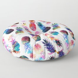 watercolor and nebula pineapples illustration pattern Floor Pillow