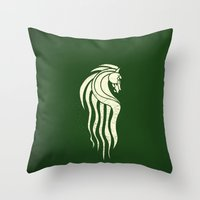 gondor Throw Pillows featuring Rohan Horse heraldry by Nxolab