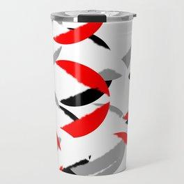 black white red grey abstract minimal pattern Travel Mug