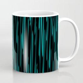 Vertical cross light blue lines on a dark tree. Coffee Mug