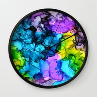 mermaids Wall Clocks featuring Mermaids by Claire Day