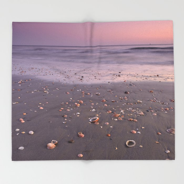 The Beach Of The Shells. Purple sunset Throw Blanket