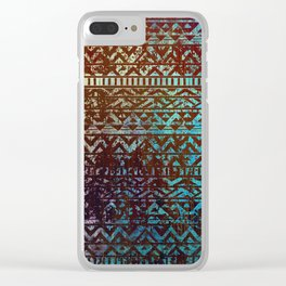Grunge Bronze and blue Tribal Ethnic  Patter Clear iPhone Case