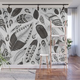 Black and white feathers pattern Wall Mural