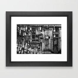 B&W Fishing Shack Framed Art Print