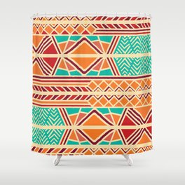 Tribal ethnic geometric pattern 027 Shower Curtain