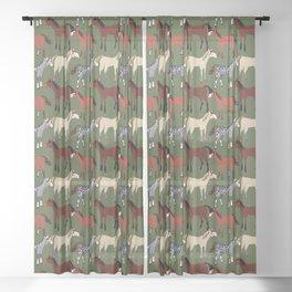 Sorrel braze horse with a pattern in dark green Sheer Curtain