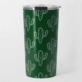 Modern hand painted forest green white cactus floral Travel Mug