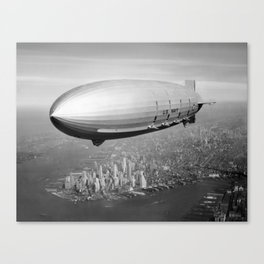 Airship Flying Over New York City Canvas Print