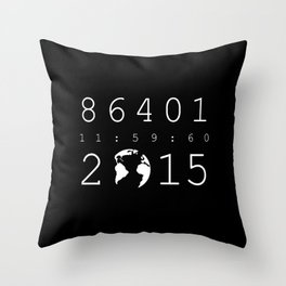 86401 Leap Second 2015 (white version) Throw Pillow