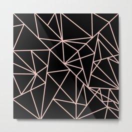 Abstract geometric pink black modern shapes pattern Metal Print