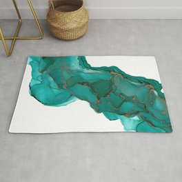 Turquoise and Gold Stream: Original Abstract Alcohol Ink Painting Rug