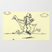 scuba Area & Throw Rugs featuring Ostrich Scuba Rider by carlosPARCE