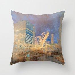 Drawbridge Chicago River City Skyline Throw Pillow
