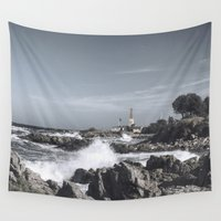 denmark Wall Tapestries featuring The wild sea by UtArt