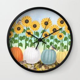 chipmunk, red breasted nuthatches, heirloom pumpkins, & sunflowers Wall Clock
