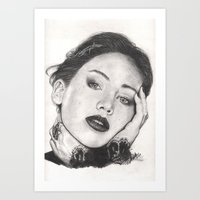 jennifer lawrence Art Prints featuring jennifer lawrence by als3