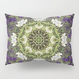Icy White and Rich Violet Petunias Kaleidoscope Pillow Sham