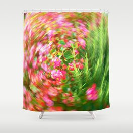 Flowers in Circular Motion Shower Curtain