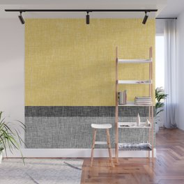 Yellow Grey and Black Section Stripe and Graphic Burlap Print Wall Mural