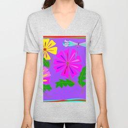 A Spring Floral Design with a Dragonfly Unisex V-Neck