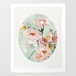 Blue Oval Peonies & Poppies Art Print