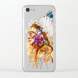 Native American Chief Clear iPhone Case