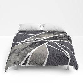 black and white flower Comforters