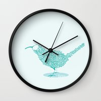 kiwi Wall Clocks featuring kiwi by faetea