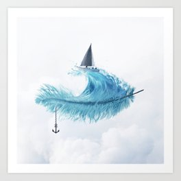 Water Feather • Blue Feather (horizontal) Art Print