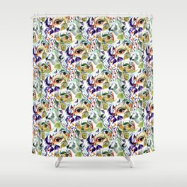 Chic Elegant Artistic Pshychedelic Utopian Painted Eyes Shower Curtain