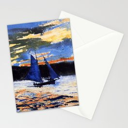 Winslow Homer's Gloucester Sunset nautical maritime landscape painting with sailboat - sailing Stationery Cards