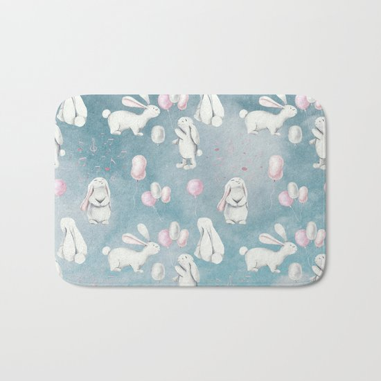 Bunnies Bunny in heaven-Cute Animal illustration pattern Bath Mat