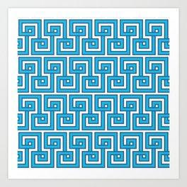 Greek Key - Turquoise Art Print
