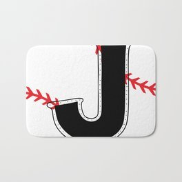 Baseball Monogram J Initial Bath Mat