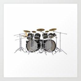Black Drum Kit Art Print